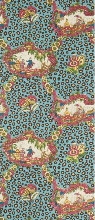 Chinese Leopard Toile - aqua and berry