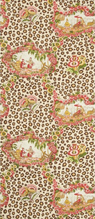 Chinese Leopard Toile - rose and leaf