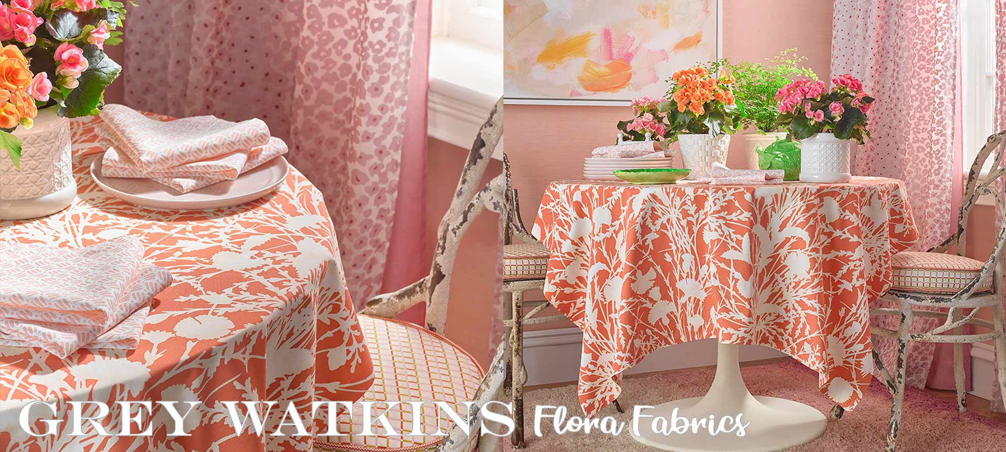 Grey Watkins Fabrics Flora Collection