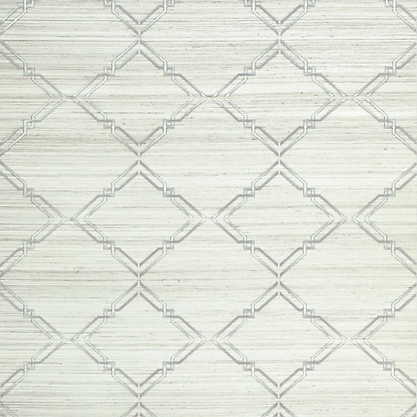 Monroe Embroidered Grasscloth - glacier