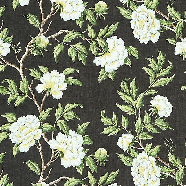 Peonia Linen Print - onyx
