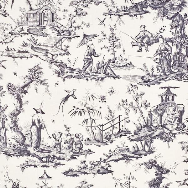 Shengyou Toile - Black - Schumacher fabric