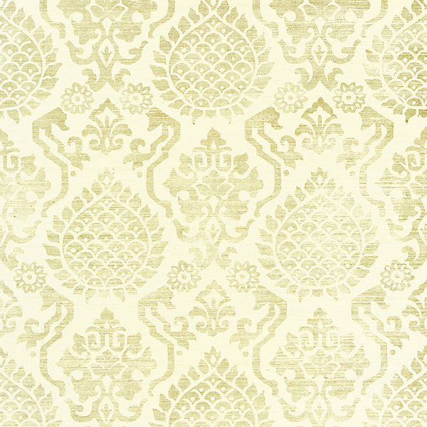 Surat Sisal - burnished gold on cream scalamandre wallpaper
