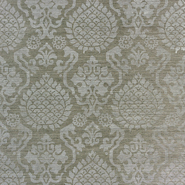 Surat Sisal - silver on pewter scalamandre wallpaper