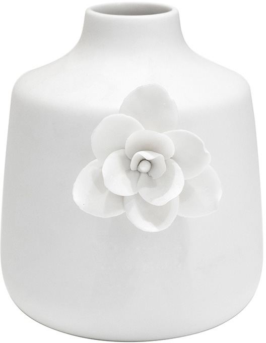 white stout flower detail vase