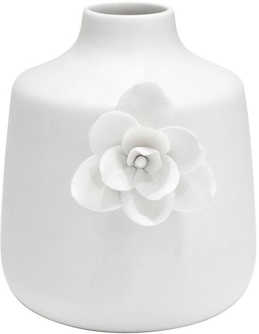 white stout flower detail vase