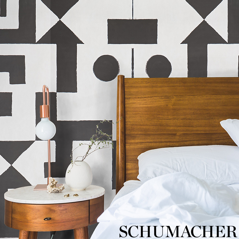 Binary in 'Black' from Schumacher Wallpaper