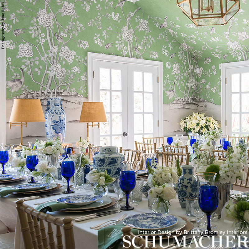 Chinois Palais in 'Aquamarine' from Schumacher Wallpaper