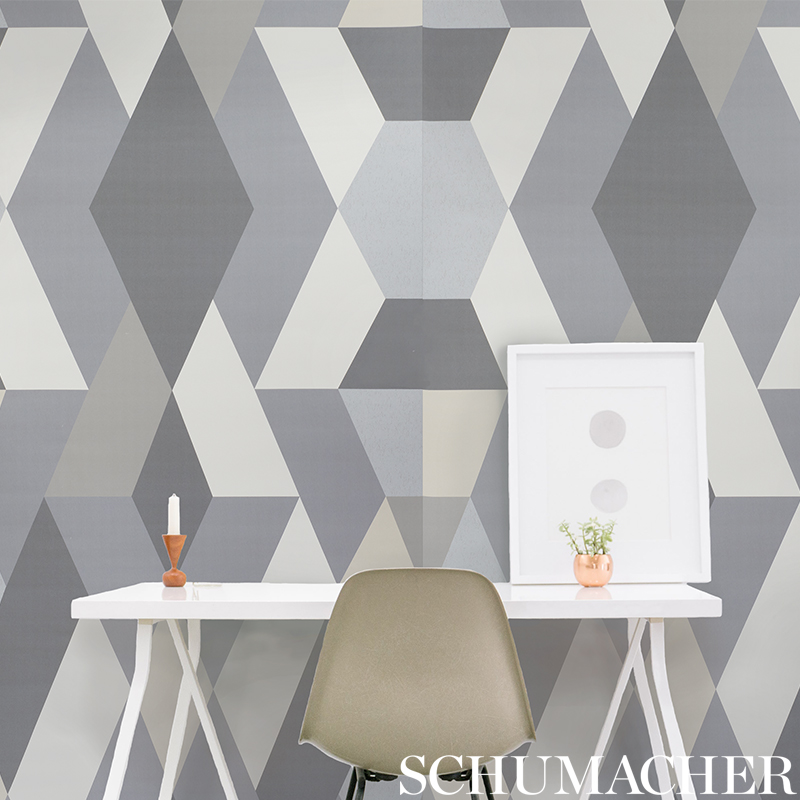 Deco Diamonds in 'Dove' from Schumacher Wallpaper