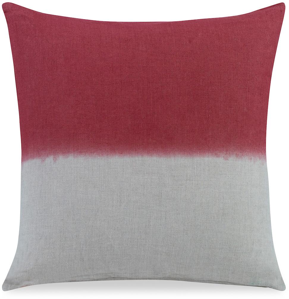red white half half pillow dip dye fade