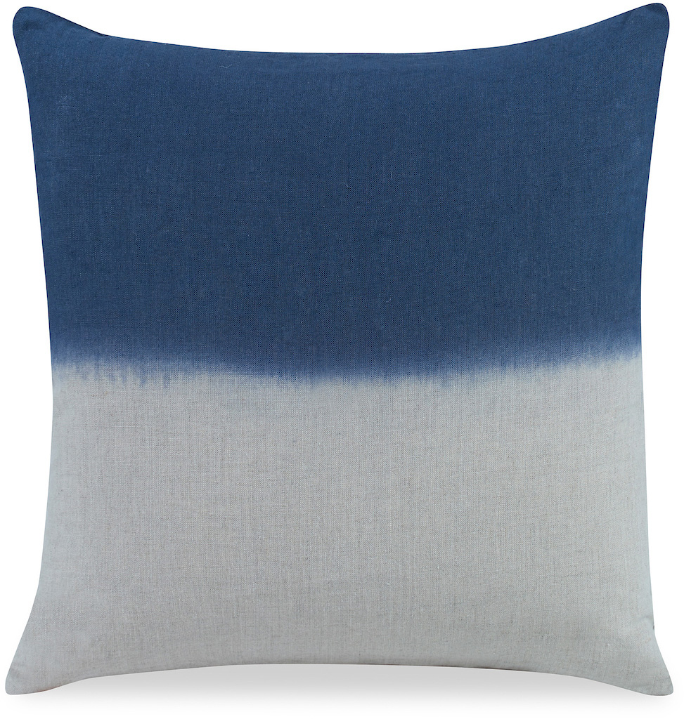 white and blue fade dip dye pillow cushion
