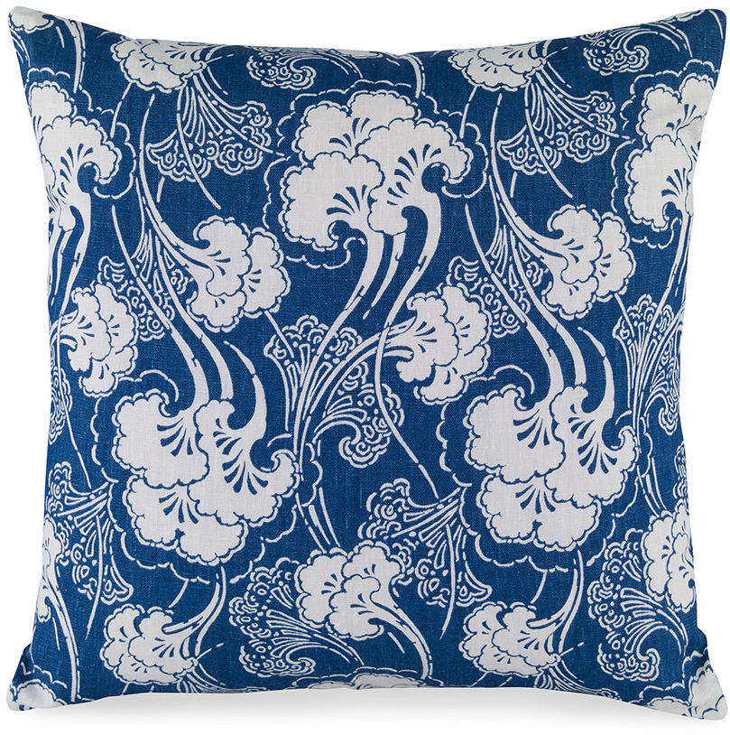 blue cerulean white leaf clouds pillow