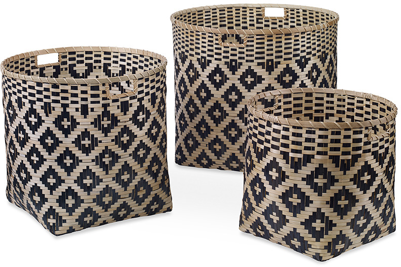 woven basket set blue and natural