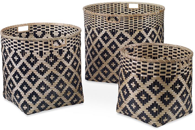 woven basket set blue and natural