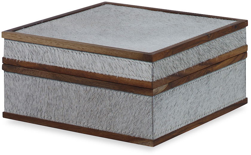 gray hair hide box wooden trim