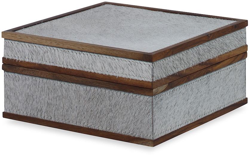 gray hair hide box wooden trim