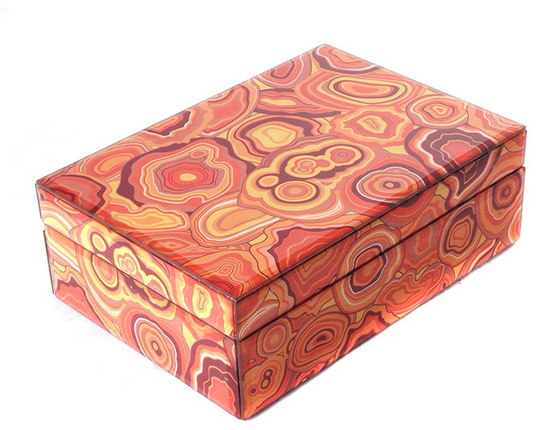 red and orange malachite patterned box