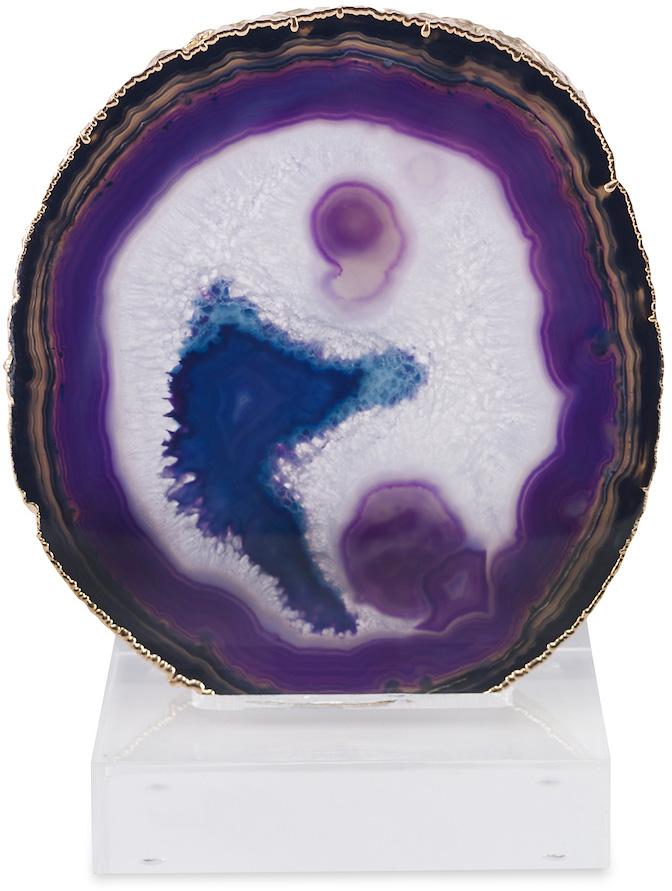purple agate slice sculpture purple