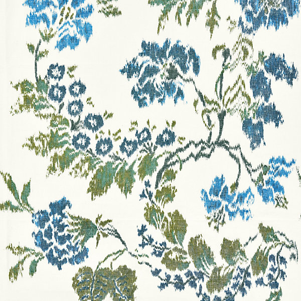 Kew Gardens Warp Print - Blues on Ivory