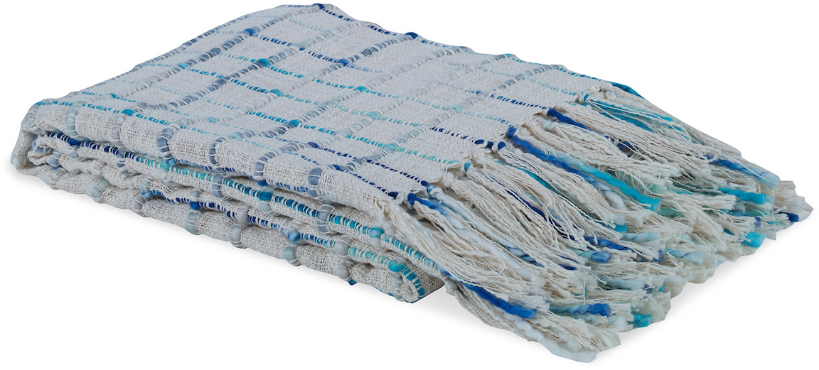 blue and white faded checkered throw blanket