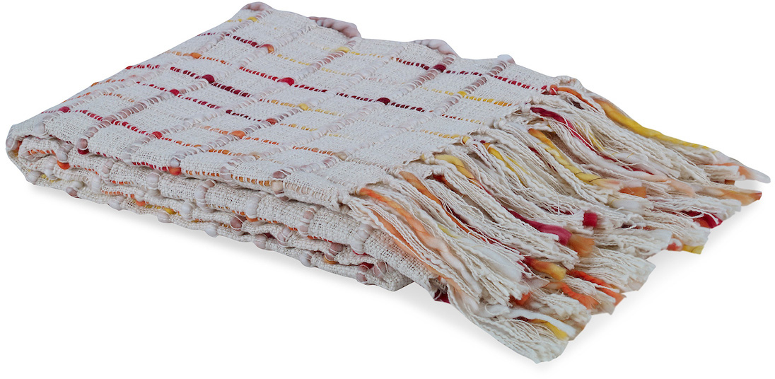 red orange yellow faded white checkered blanket throw