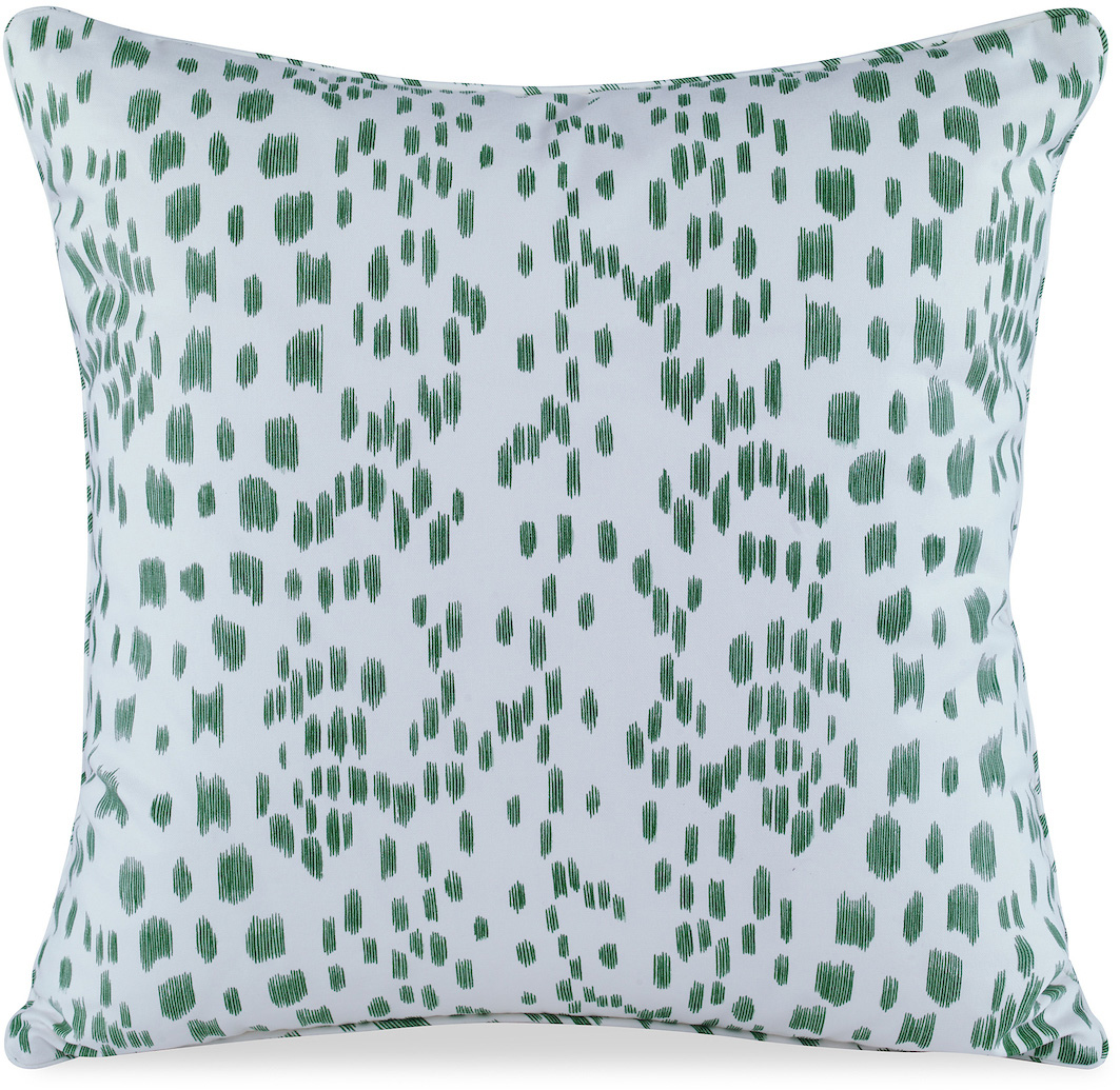 green and white speckled modern pillow