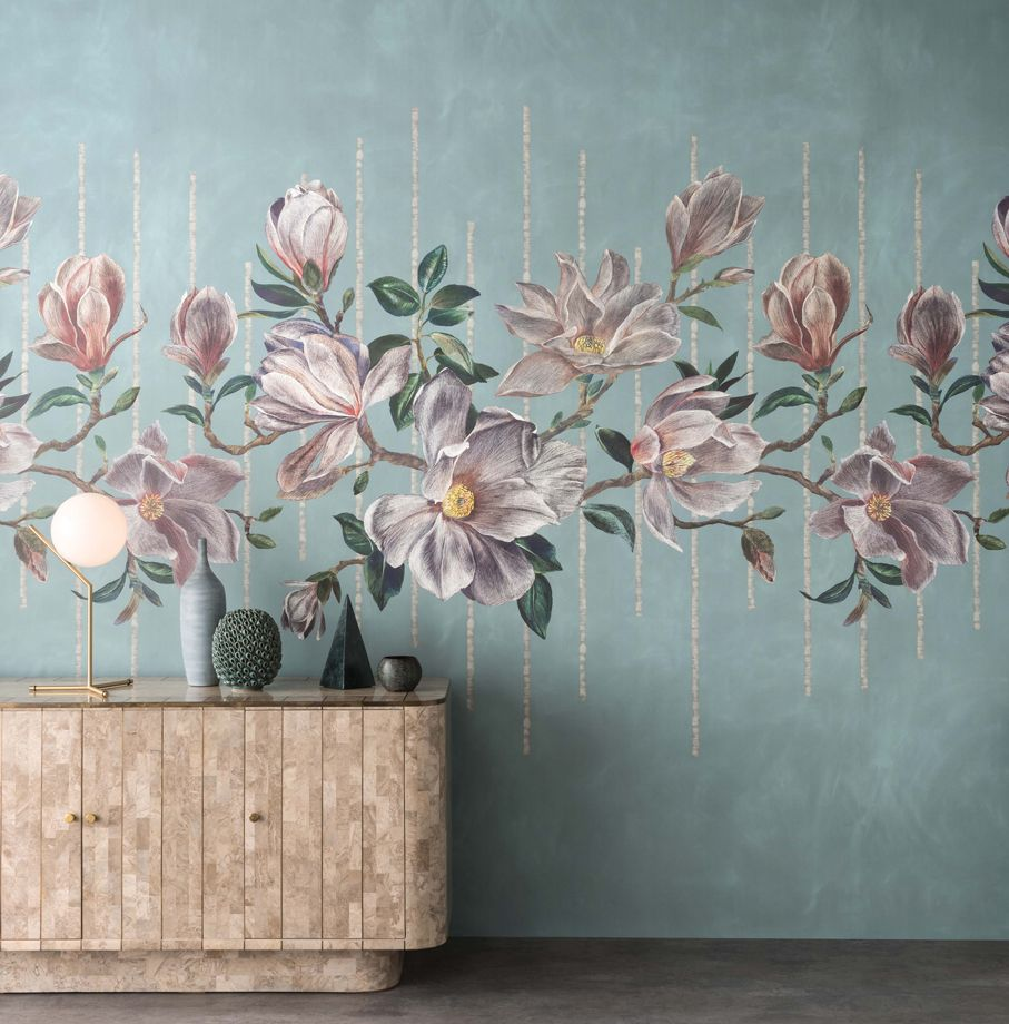 Magnolia Frieze in 'Aqua' from Osborne & Little