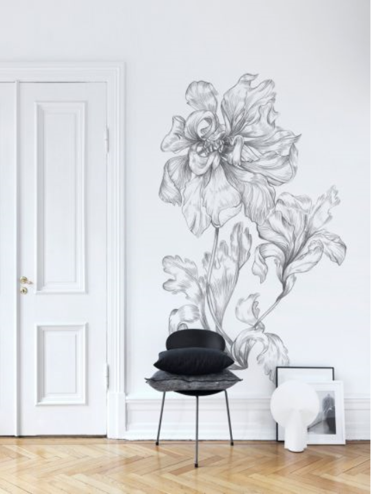 Peony Mural in 'Grey' from Sandberg Wallpaper