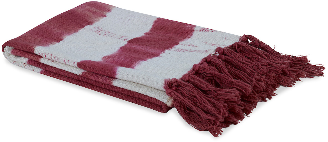 red and white faded stripe throw blanket