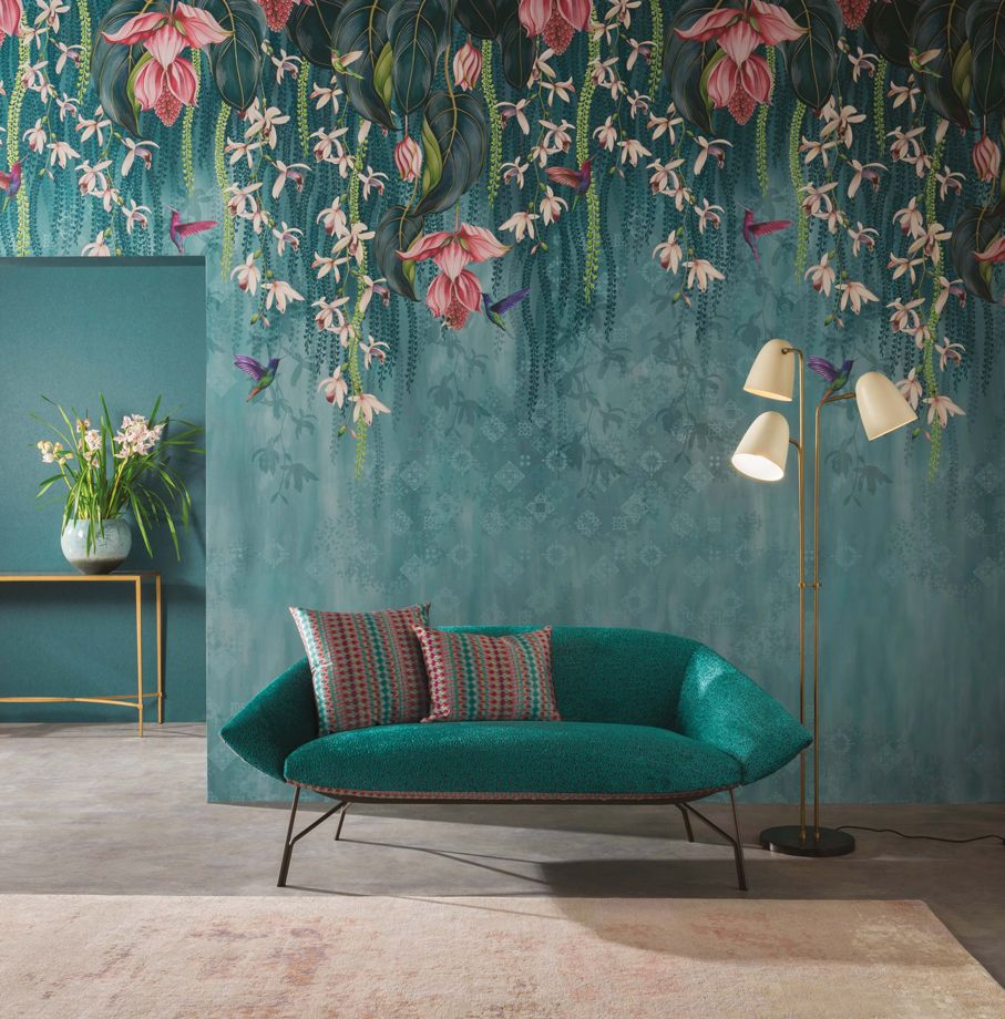 Trailing Orchid in 'Aqua' from Osborne & Little