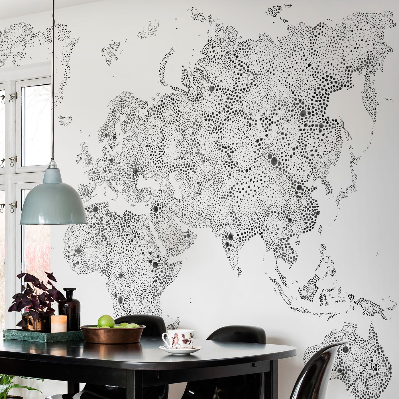 World Map in 'Black' from Sandberg Wallpaper