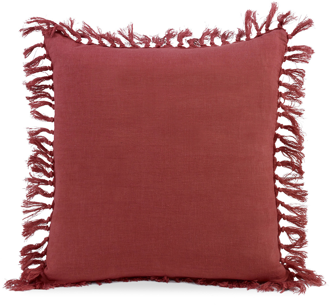 burnt red fringe tassles pillow red orange
